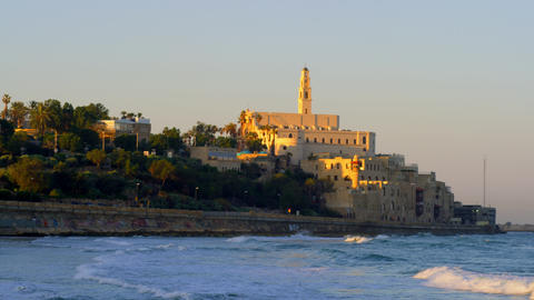 Stock Video Footage of the Mediterranean coast of Jaffa with St. Peter's Church  Footage