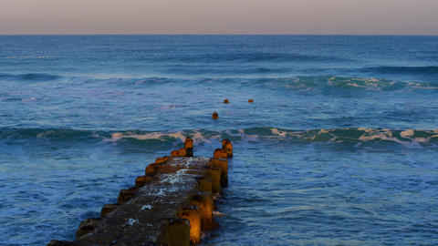 Stock Video Footage of an old, ruined pier at the Mediterranean Sea shot in Isra Footage