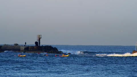 Royalty Free Stock Video Footage of kayakers on the Mediterranean Sea shot in Is Footage