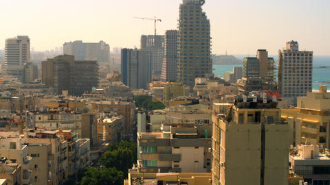 Stock Video Footage of a Tel Aviv cityscape with the Mediterranean shot in Israe Footage