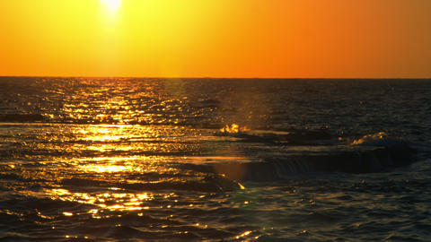 Stock Video Footage of a sunset reflected in the Mediterranean at Dor Beach shot Footage