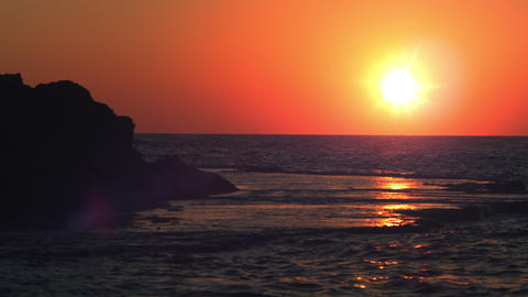 Royalty Free Stock Video Footage panorama of sunset at Dor Beach shot in Israel  Footage