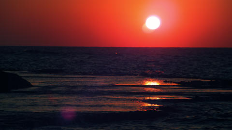 Stock Video Footage of the sunset over the Mediterranean at Dor Beach shot in Is Footage