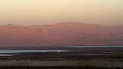 Stock Video Footage panorama of Dead Sea and mountains at sunset shot in Israel  Footage