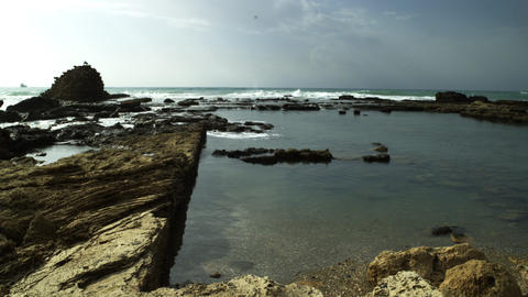 Stock Video Footage of ancient pool ruins on the seashore shot in Israel at 4k w Footage