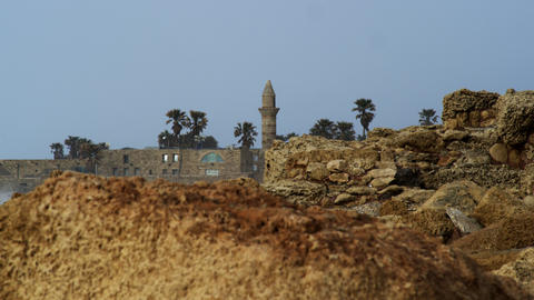Royalty Free Stock Video Footage of Caesarea mosque shot in Israel at 4k with Re Footage