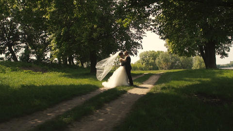 Wedding Bride and Groom Park Walk Footage