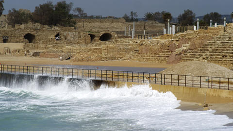 Royalty Free Stock Video Footage of Caesarea and waves shot in Israel at 4k with Footage