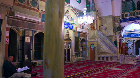 Royalty Free Stock Video Footage studying in mosque filmed in Israel at 4k with  Footage