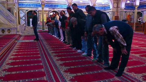 Royalty Free Stock Video Footage of muslim men praying at a mosque filmed in Isr Footage