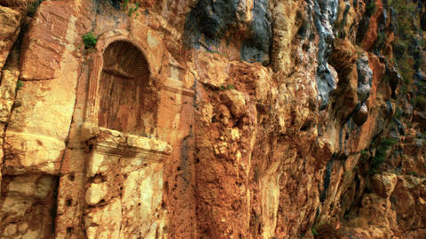 Royalty Free Stock Video Footage of carved cliff face at Banias shot in Israel a Footage