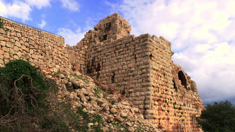 Royalty Free Stock Video Footage panorama of Nimrod Fortress walls shot in Israe Footage