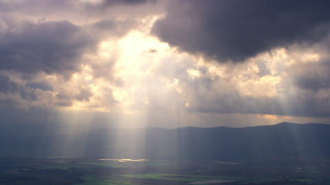 Royalty Free Stock Video Footage of sun rays illuminating a valley shot in Israe Footage