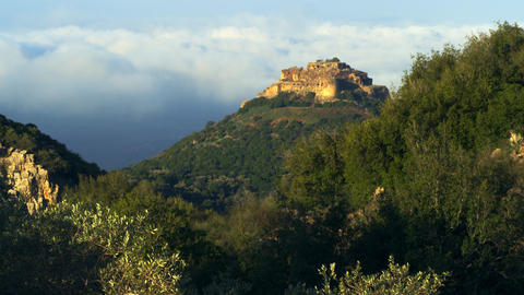 Royalty Free Stock Video Footage of Nimrod Fortress above clouds shot in Israel  Footage