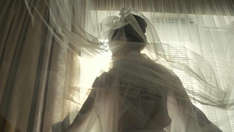 Wedding Bride Veil in Morning Footage
