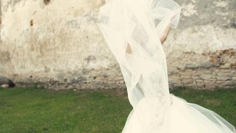 Wedding Bride Fun with Veil on Wind Footage