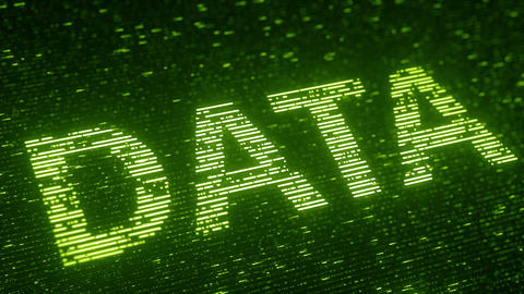 Green DATA word made with flying luminescent particles. Information technology Footage