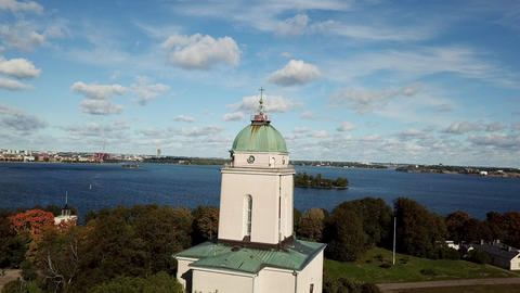 Traveling concept top view to the Helsinki shoreline with buildings and seascape Live Action