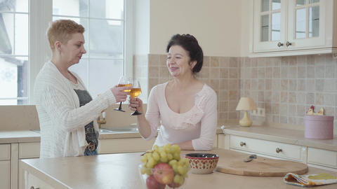 Mature women communicating at home standing near modern table in the kitchen Footage