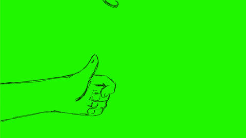 Hand Flipping Coin Toss Drawing 2D Animation CG動画