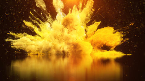 Yellow Color Burst - colorful smoke explosion fluid gas glowing particles slow motion 3D reflection Animation