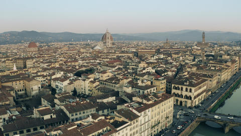 Aerial view of the cityscape of Florence in the evening, Italy Footage