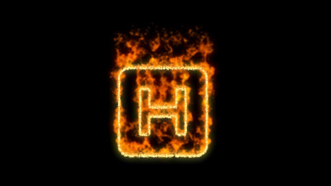 h square symbol inflames. Then disappears. In - Out loop. Alpha channel Premultiplied - Matted with Animation