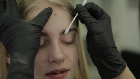 Eyelash dyeing process, preparing eyelashes for dyeing Footage