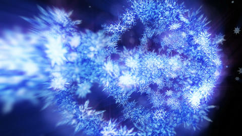 Shinning winter symbol with beauty snowflakes. Vortex from spin snow. Winter pattern. Beauty dancing CG動画
