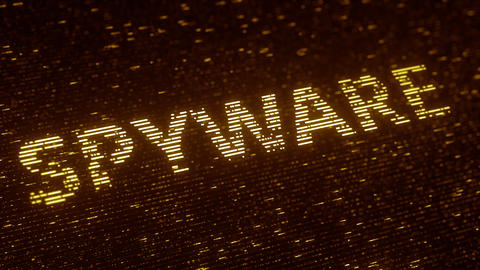 SPYWARE word made with flying luminescent particles. Information technology Footage