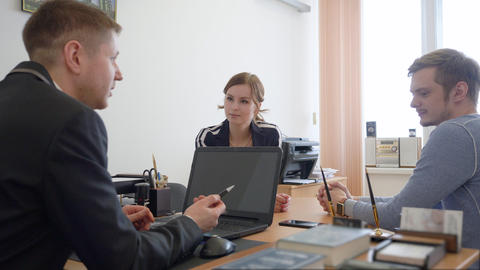 Young couple consulting with professional lawyer in law office. Lawyer services Footage