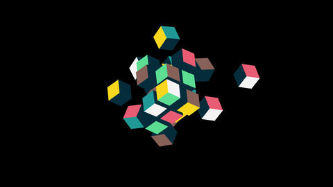 Team building concept animation.3D cubes formed composition. HD animation with alpha channel Animation