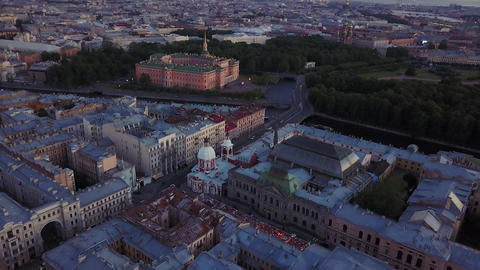 Aerial view of Saint-Petersburg, Russia. Old central city high point view Live Action