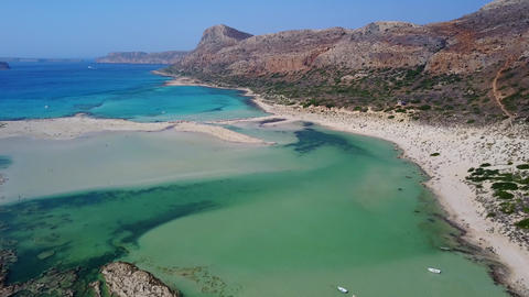 Aerial Drone Footage bay of Balos, Crete - drone flight above the lagoon Live Action
