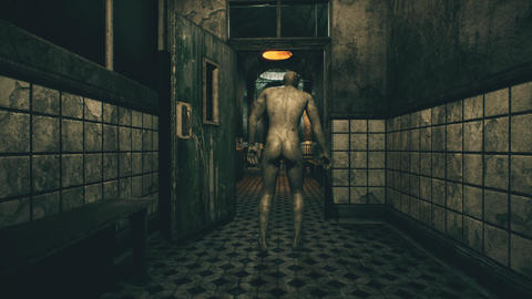 4K Naked Zombie Walking in Apocalyptic Hospital Cinematic 3D Animation Animation