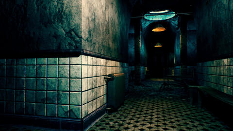 4K Scary Hospital Corridor Camera Pan 3D Animation Animation