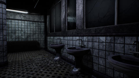 4K Spooky Abandoned Building Bathroom 3D Animation Stock Video Footage