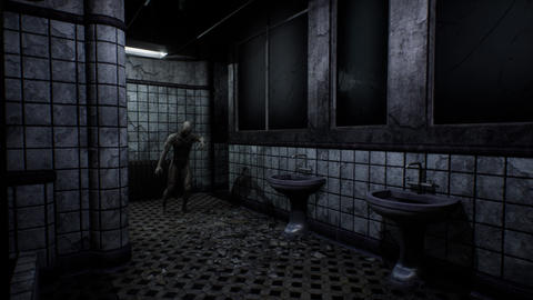 4K Super Scary Abandoned Bathroom with a Zombie Cinematic 3D Animation Animation
