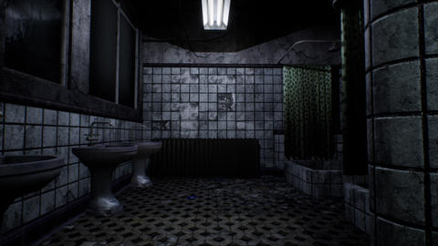 4K Camera Pullout in Abandoned Scary Bathroom Cinematic 3D Animation Animation