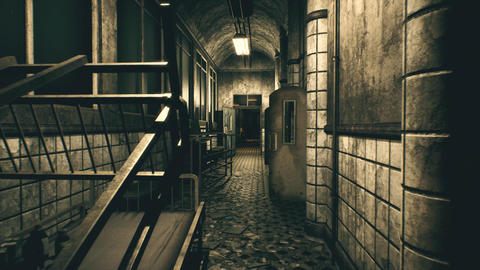 4K Abandoned Mental Asylum Corridor Cinematic 3D Animation Animation