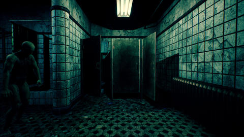 4K Zombie in Abandoned Bathroom Cinematic 3D Animation Animation