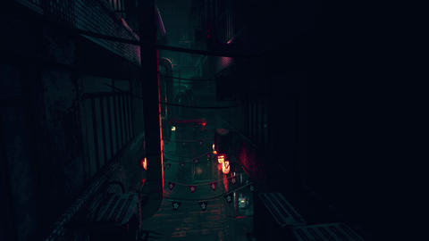 4K Cyberpunk Oriental Backstreet Alley at Night Animation