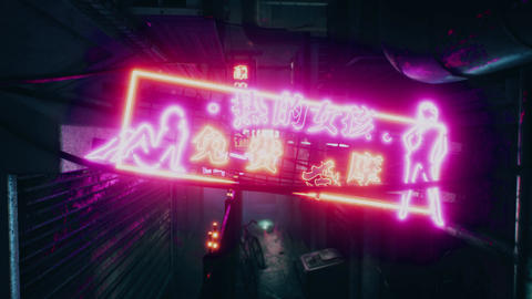 4K Cyberpunk Oriental City Back Alley Nightclub Neon Sign at Night Animation