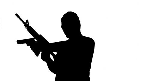 Man with Machine Gun and Pistol Silhouette 4 Animation