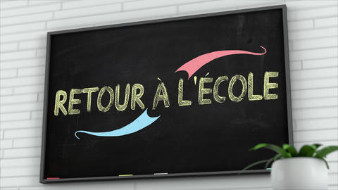 4K Blackboard with Back to School French Text 2 Animation