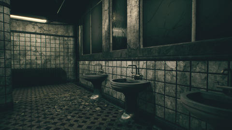 4K Freaky Abandoned Building Bathroom 3D Animation Animation