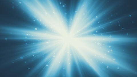 Blue Shining Rays With Particles Background Animation