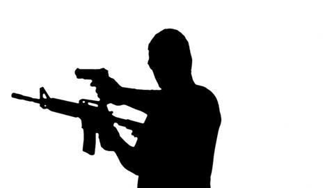 Man with Machine Gun and Pistol Silhouette 5 Animation