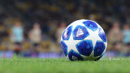 Official UEFA Champions League 2018/19 season matchball on grass Footage