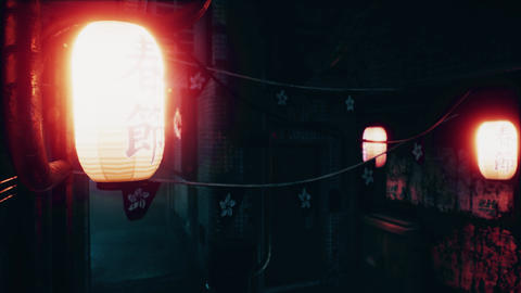 4K Cyberpunk Oriental City Chinese New Year Lanterns Animation